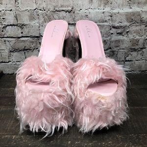 Ellie Faux Fur Baby Pink Platform Heels